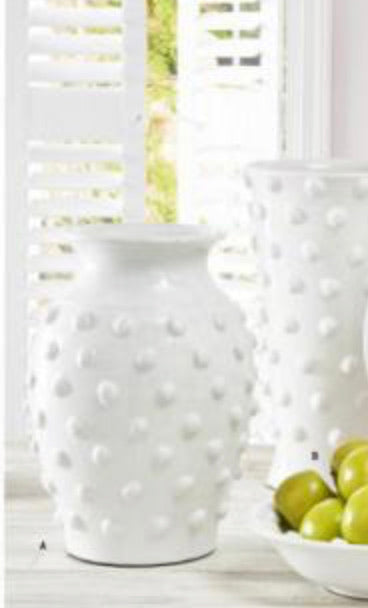 Glazed terracotta vase with polka dots
