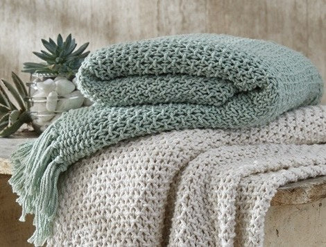 Open Knit Throw Mist