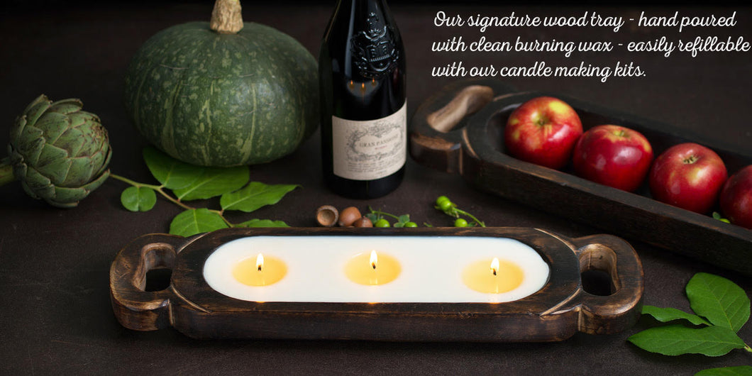Wooden Candle Tray