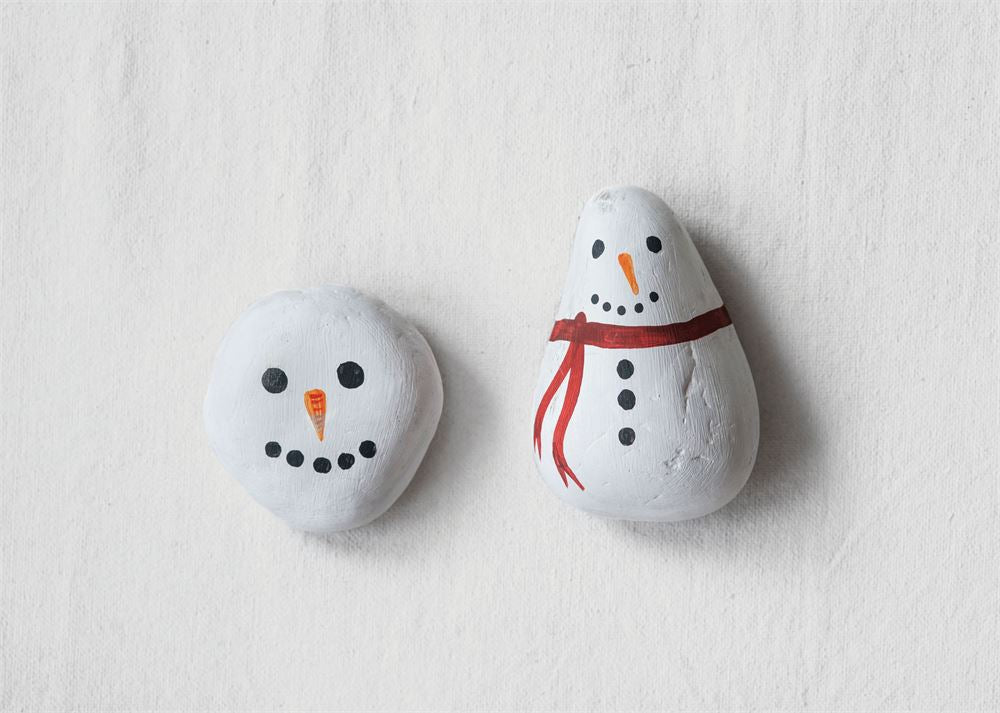 Hand-Painted Natural Stone Snowman