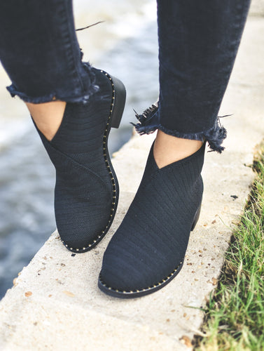 Barcelona Black Herringbone Booties