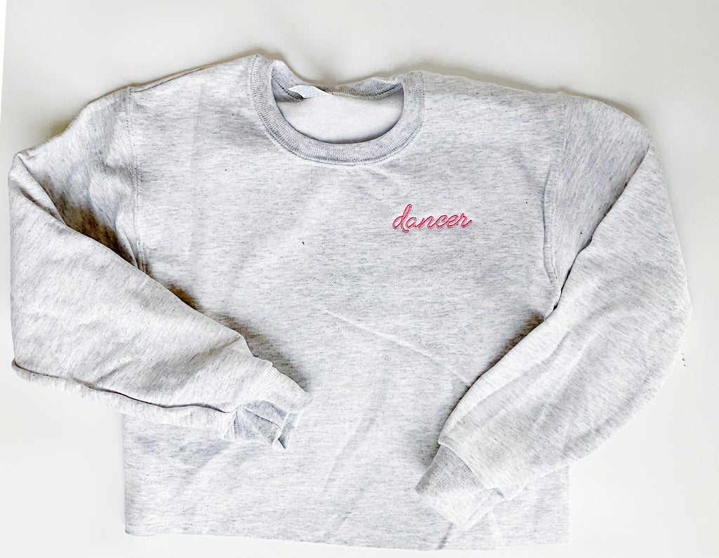 ADULT GRAY EMBROIDERED SWEATSHIRT-PREORDER