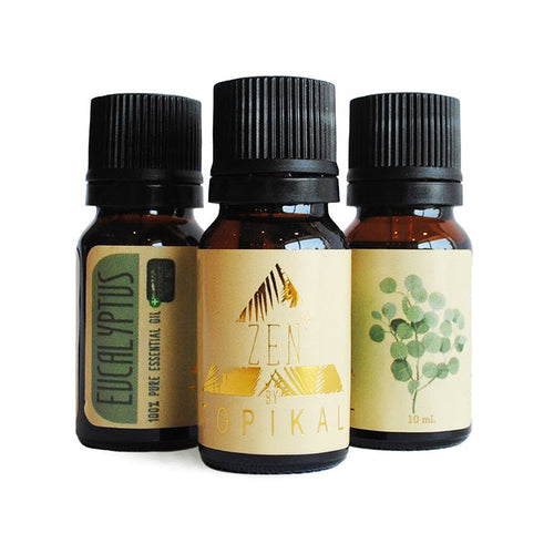 Several 10ml bottles of Tropikal Zen CBD Eucalyptus Essential Oil containing 100mg of CBD per bottle.