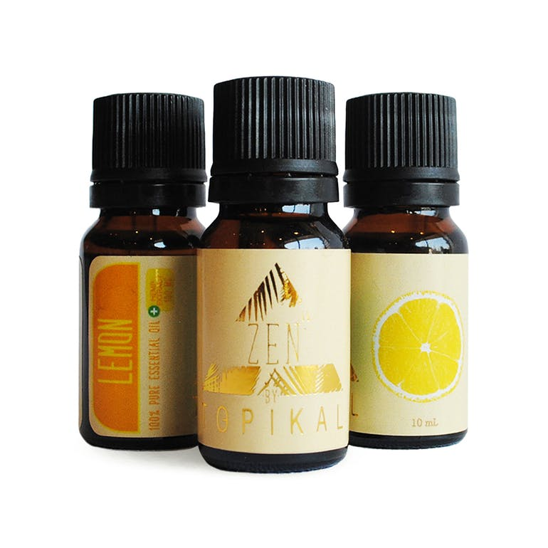 A trio of 10ml Topikal Zen CBD Essential Lemon Oil bottles containing 100mg of CBD each.