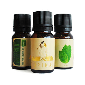 Three bottles of Topikal Zen CBD Essential Peppermint Oil with 100mg of CBD per 10ml bottle.