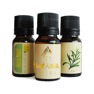A trio of Topikal Zen CBD Essential Oil Rosemary bottles containing 100mg of CBD in 10ml.