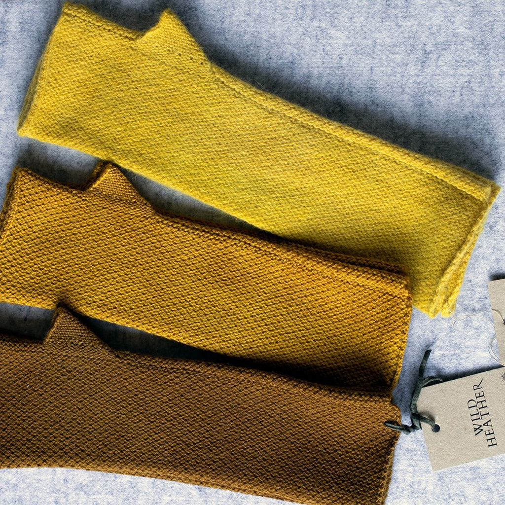 Natural dyed arm warmers in shades of yellow