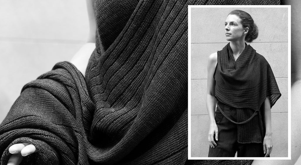 Model wearing Wendy Voon knits linen multi-wrap