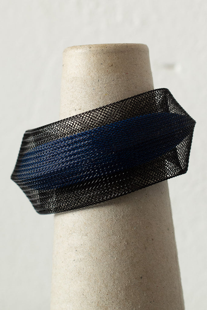 Blue inside black mesh bangle