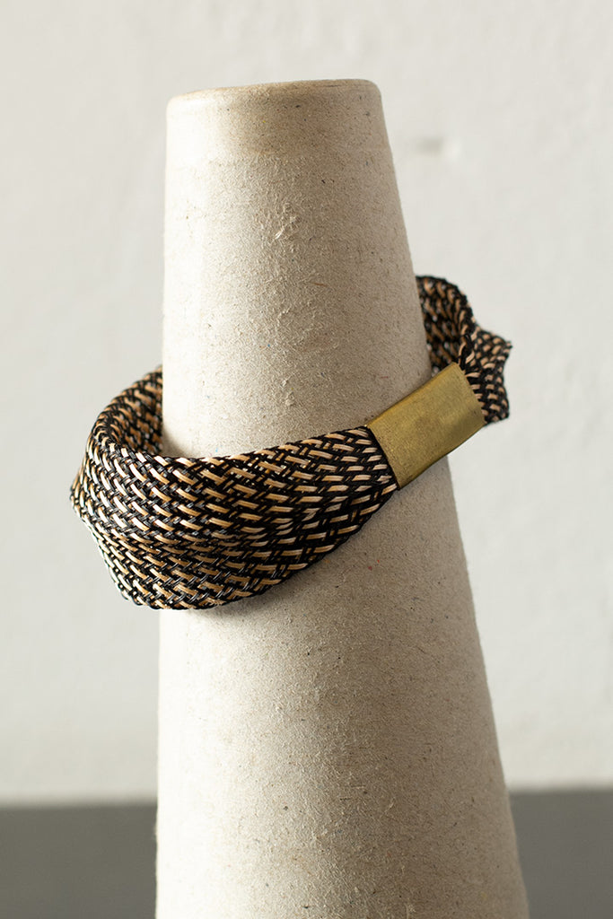 Entwined Bronze mesh bangle back view