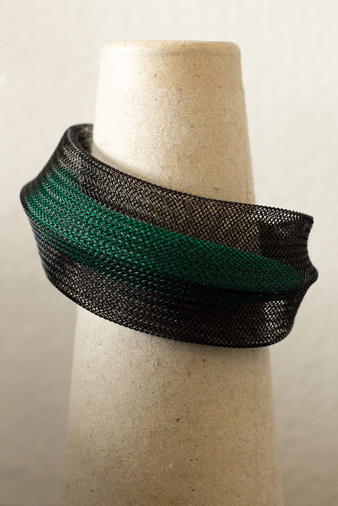 Green inside black double mesh bangle