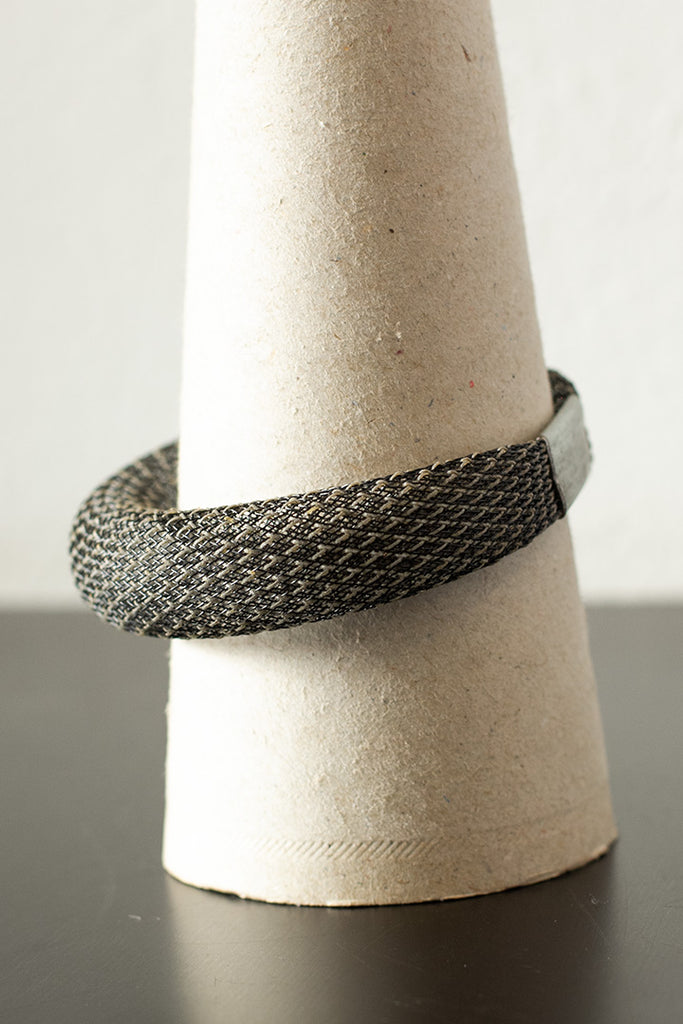 Black reflective mesh bangle side view