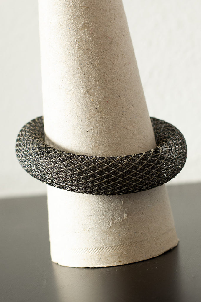 Black reflective mesh bangle