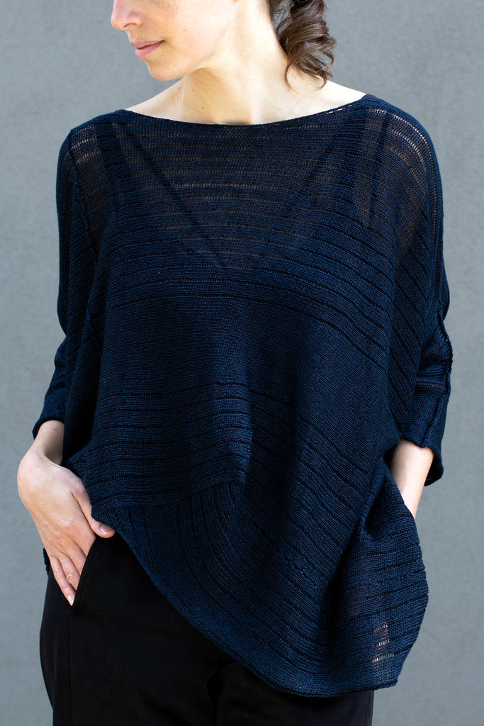 Front view of Tulip Top, made from all Linen, in Deep Ocean, designed by Wendy Voon