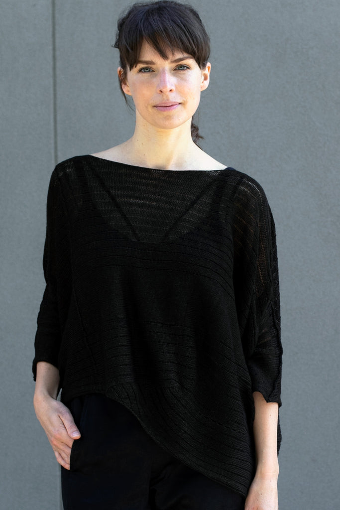 Front view of Tulip Top, made from all Linen, in Seaweed, designed by Wendy Voon