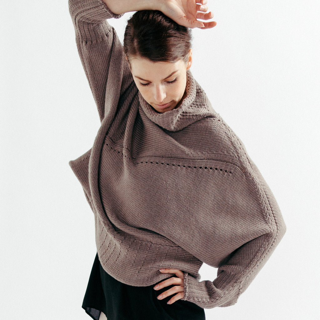 Front view of the Wendy Voon knits Chunky Funnel Neck Batwing jumper design in taupe merino wool