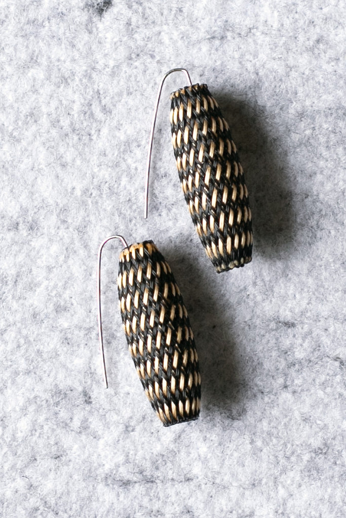 Entwined bronze cocoon shaped earrings