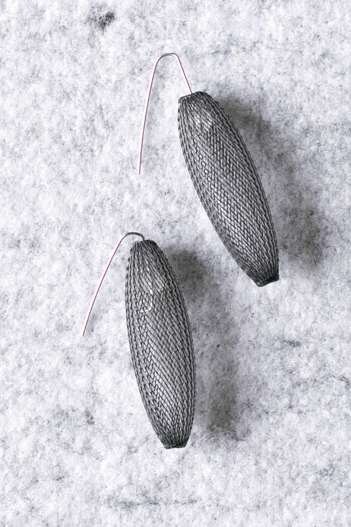 Steel mesh cocoon shaped earrings