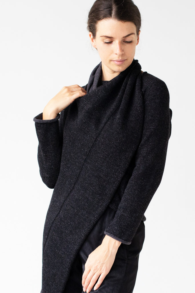 Front detail view of the Merino Cross Over by Wendy Voon in charcoal and black flecked colour, worn as a closed cardigan