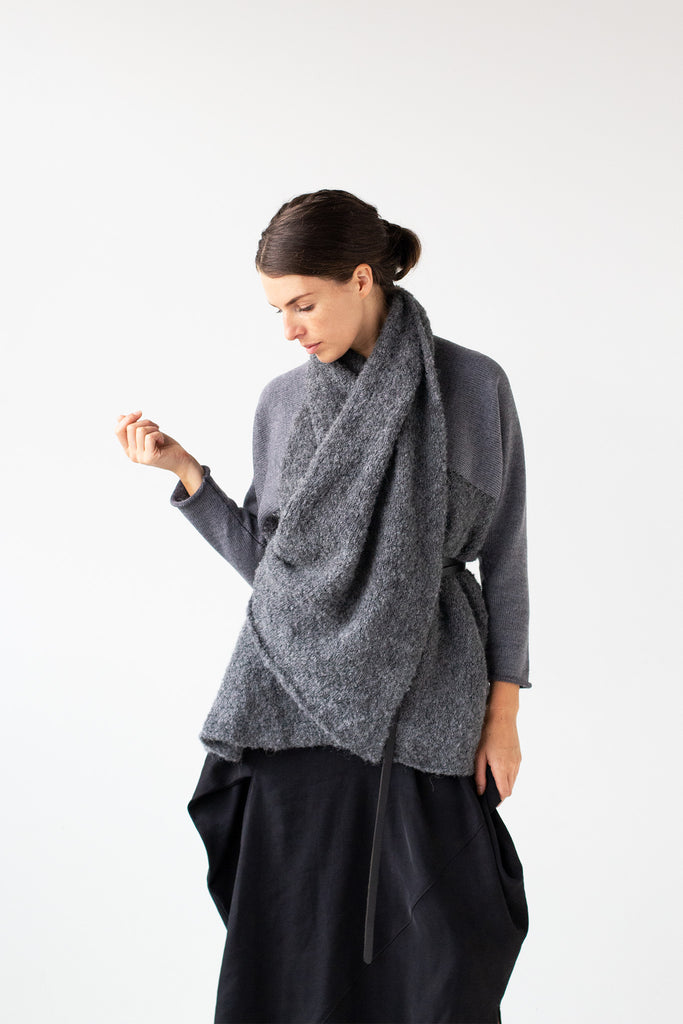 Front view of Logical Progression Coat by Wendy Voon in storm grey merino and alpaca, worn short and belted with collar opened