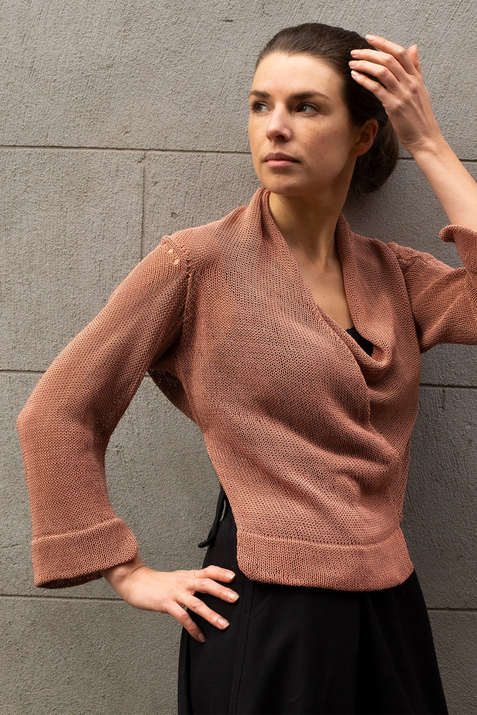 Side front view of Cropped Viscose Jumper design by Wendy Voon knits in dusty pink