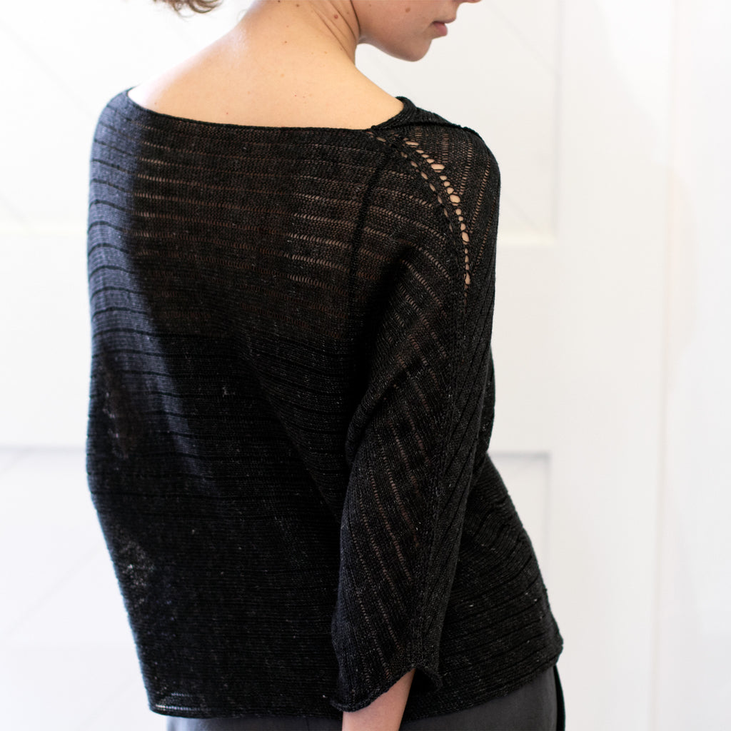 Back view of Linen Laddered Batwing jumper design by Wendy Voon in charcoal flecked linen and merino