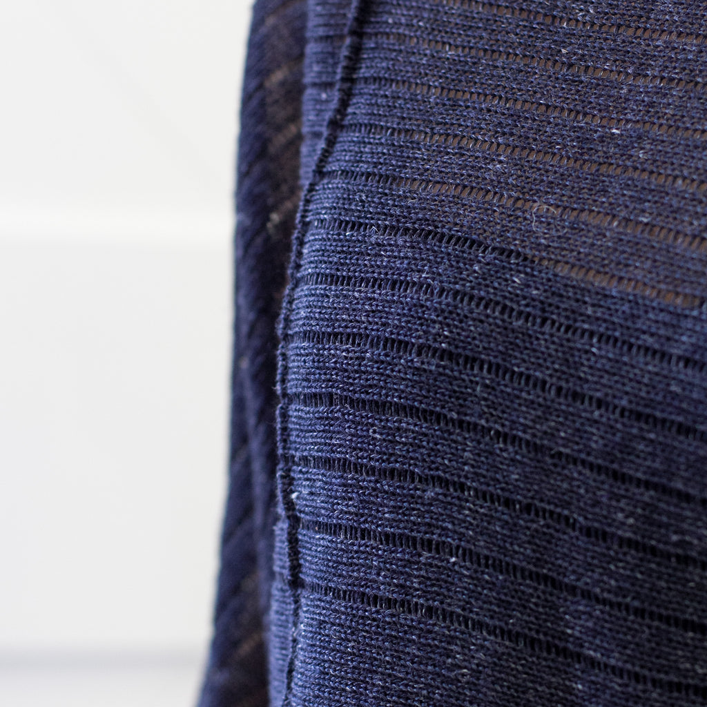 Front detail of Linen Laddered Batwing design by Wendy Voon knits in navy flecked linen and merino wool, showing fabric detail