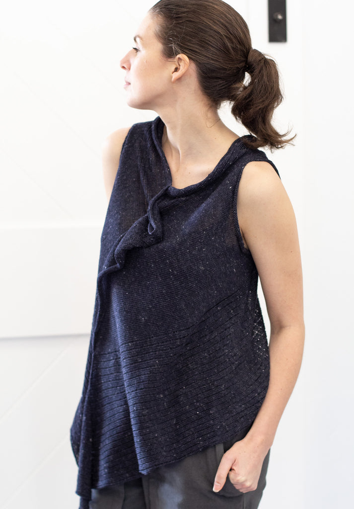 Side front view of Linen Laddered Vest design by Wendy Voon knits in navy flecked linen