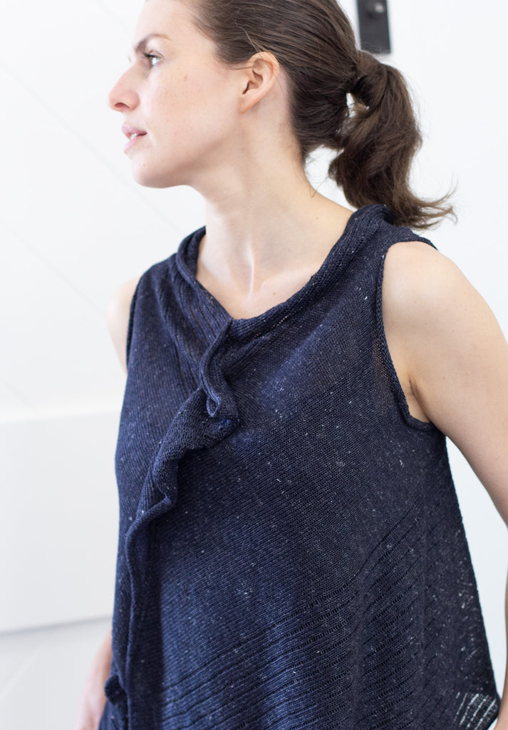 Front view of Linen Laddered Vest design by Wendy Voon knits in navy flecked linen