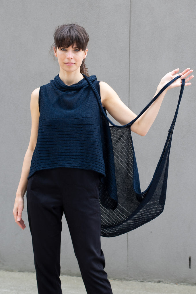 Front view of linen multi-wrap in deep ocean backed with black, designed by Wendy Voon