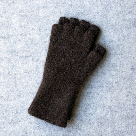 Brown coloured fingerless gloves in a merino wool, possum and silk blend