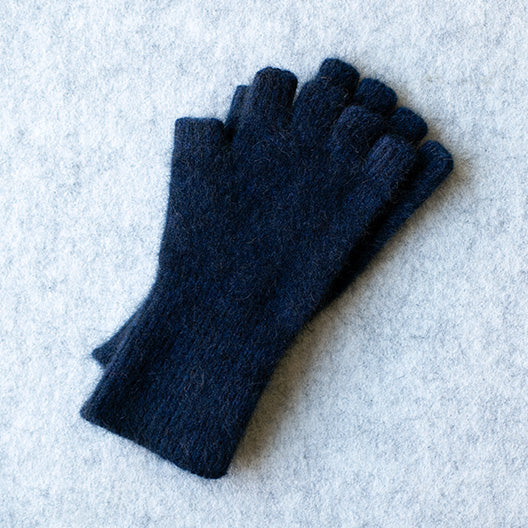 Navy coloured fingerless gloves in a merino wool, possum and silk blend