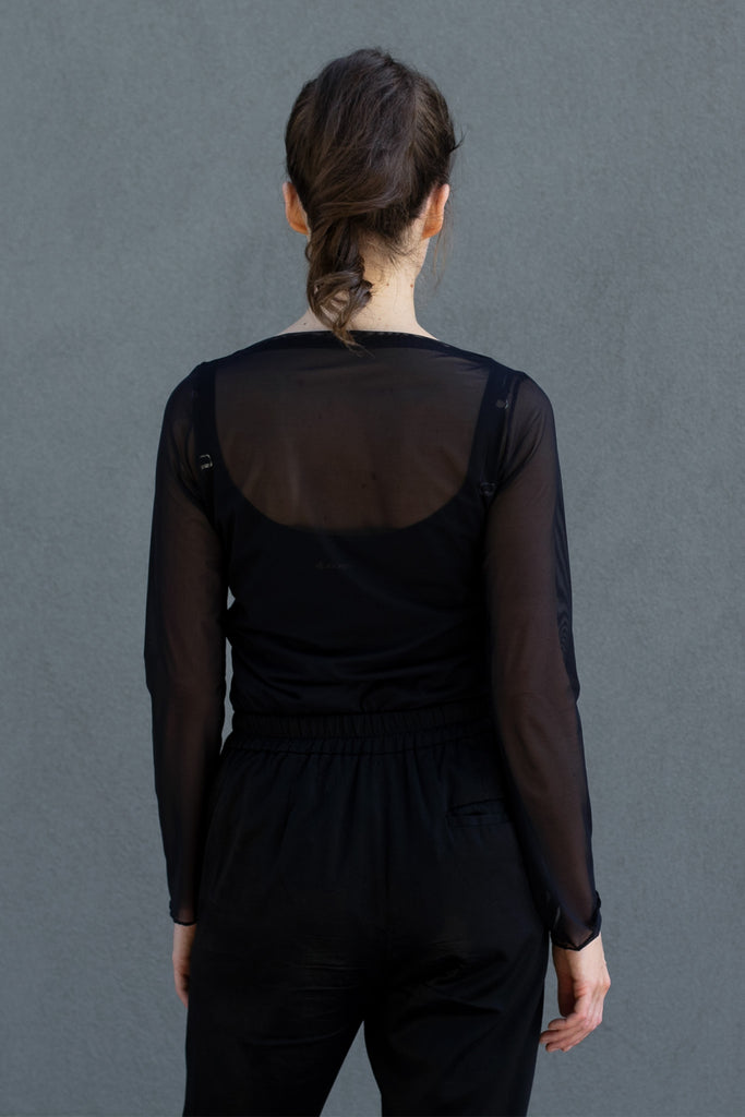 Back view of sheer boat neck mesh top designed by Wendy Voon.