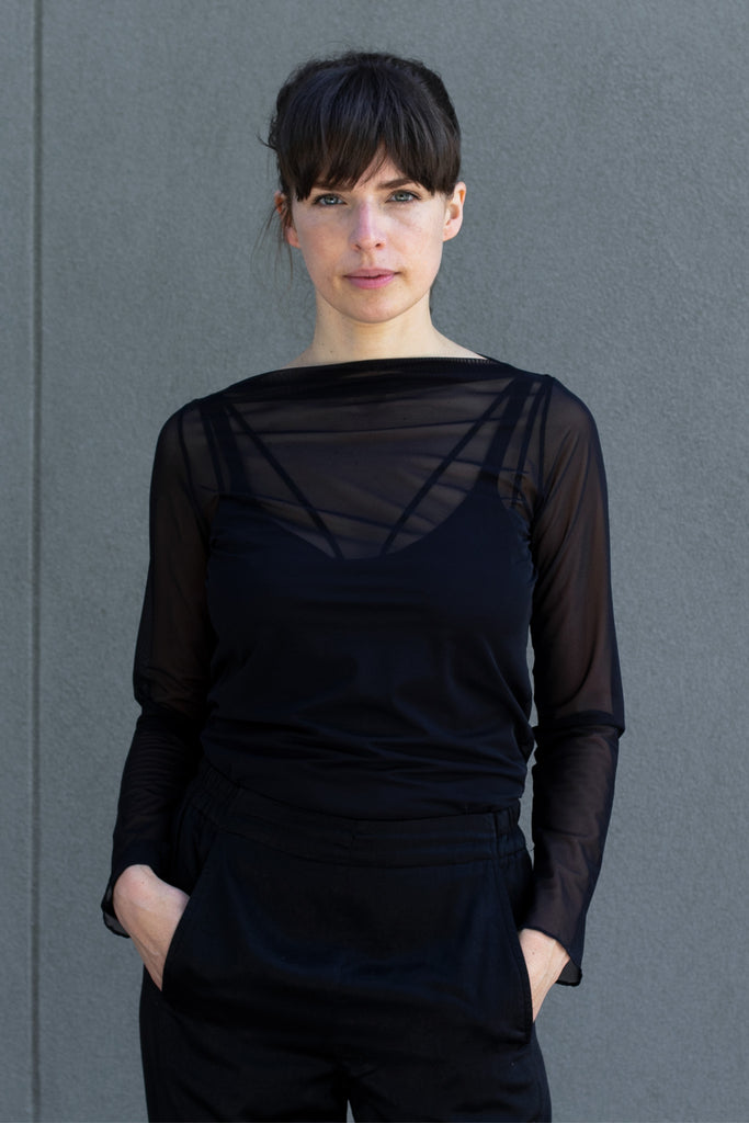 Front view of sheer boat neck mesh top designed by Wendy Voon.