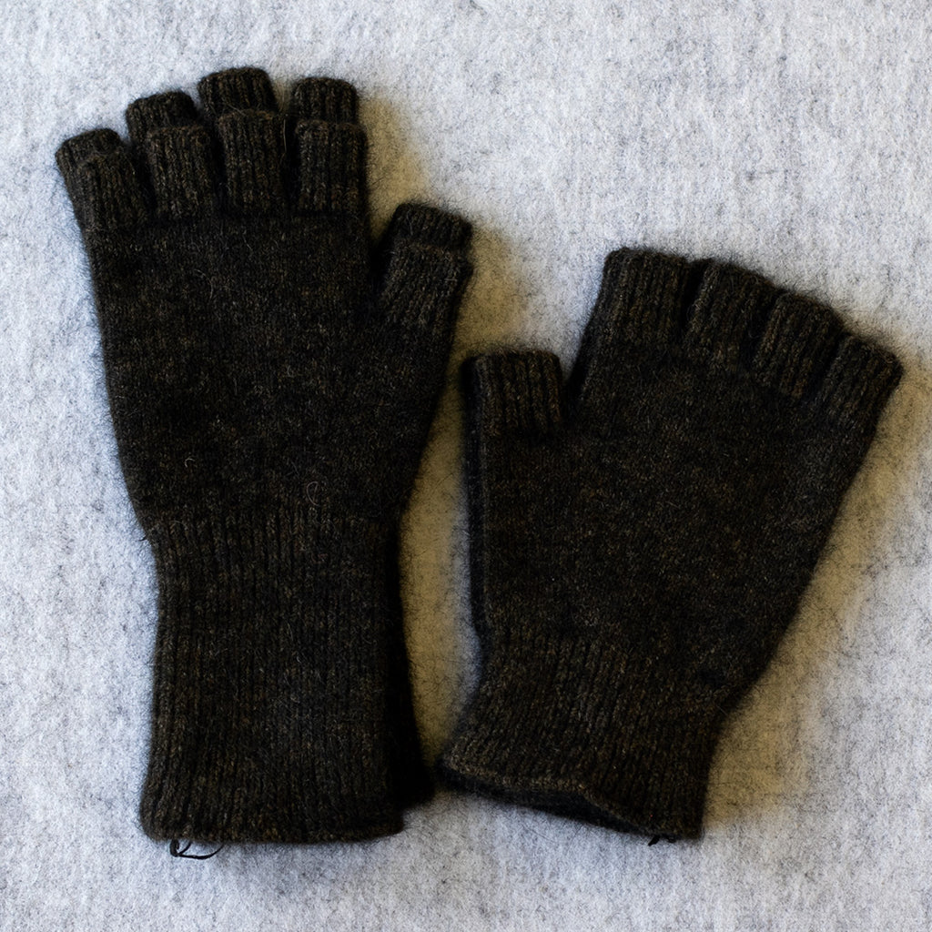 Dark tawny brown coloured fingerless gloves in a merino wool, possum and silk blend