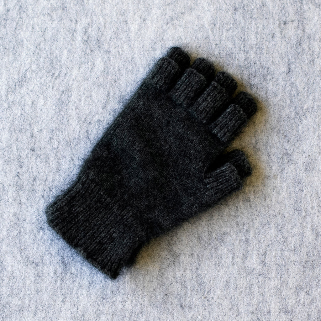 Dark denim coloured fingerless gloves in a merino wool, possum and silk blend