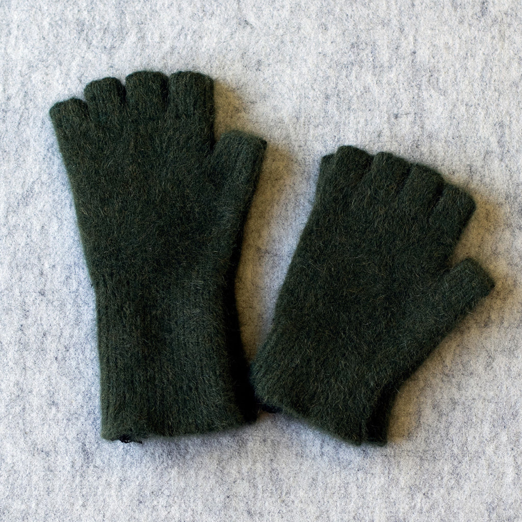 Forest coloured fingerless gloves in a merino wool, possum and silk blend