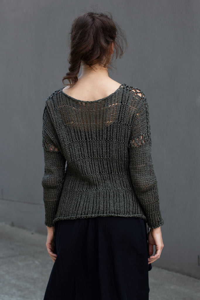 Back view of extra large stitch jumper in khaki, designed by Wendy Voon