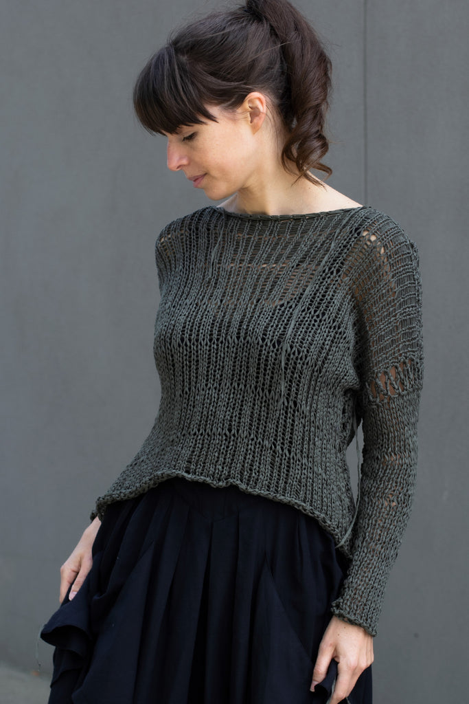 Front view of extra large stitch jumper in khaki, designed by Wendy Voon
