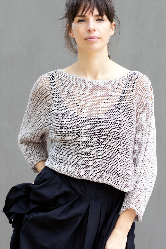 Front view of Large Stitch Batwing jumper, knitted  in Pearl cotton and designed by Wendy Voon