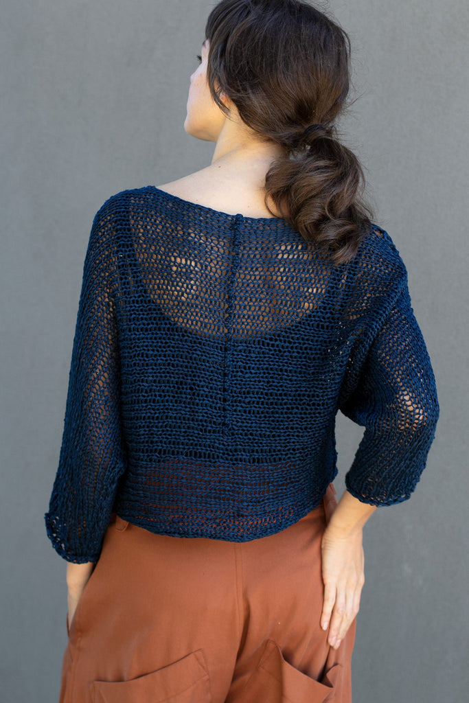 Back view  of Large Stitch Batwing jumper, knitted  in Ocean coloured cotton ribbon yarn, designed by Wendy Voon