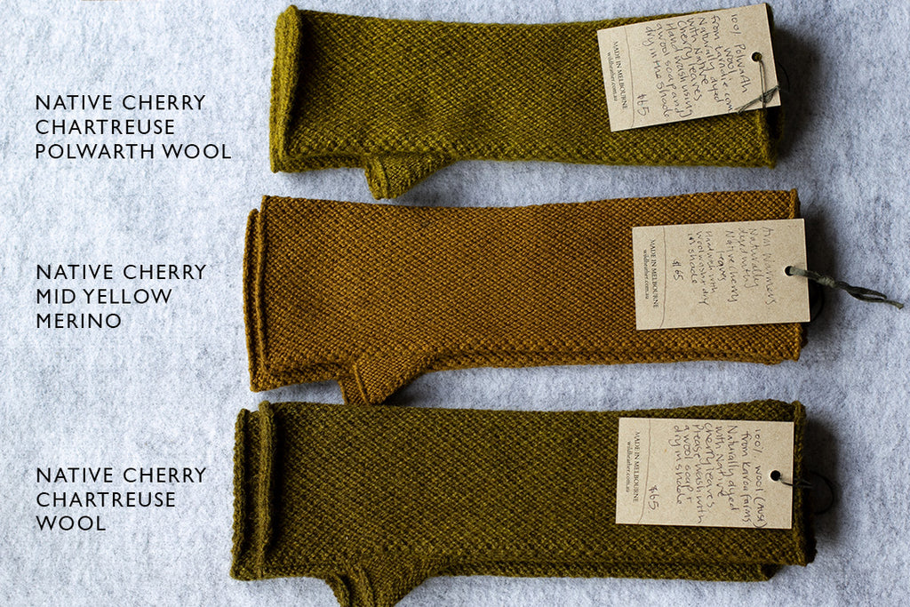 Knitted arm warmers dyed using native cherry, in yellow colour ways.