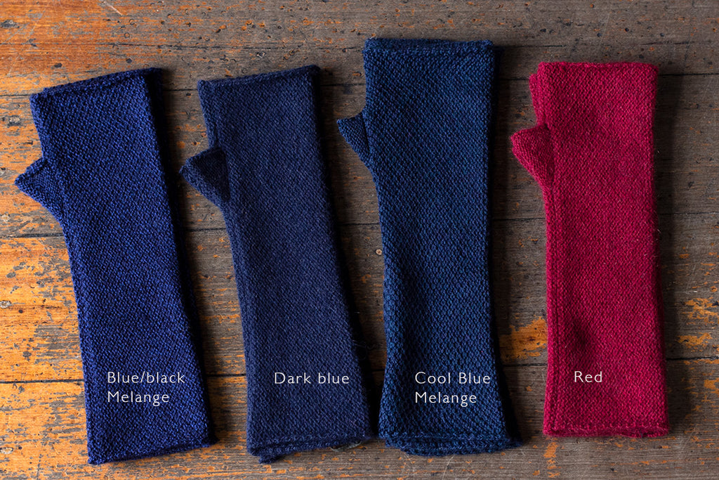 Arm warmers in blues and red