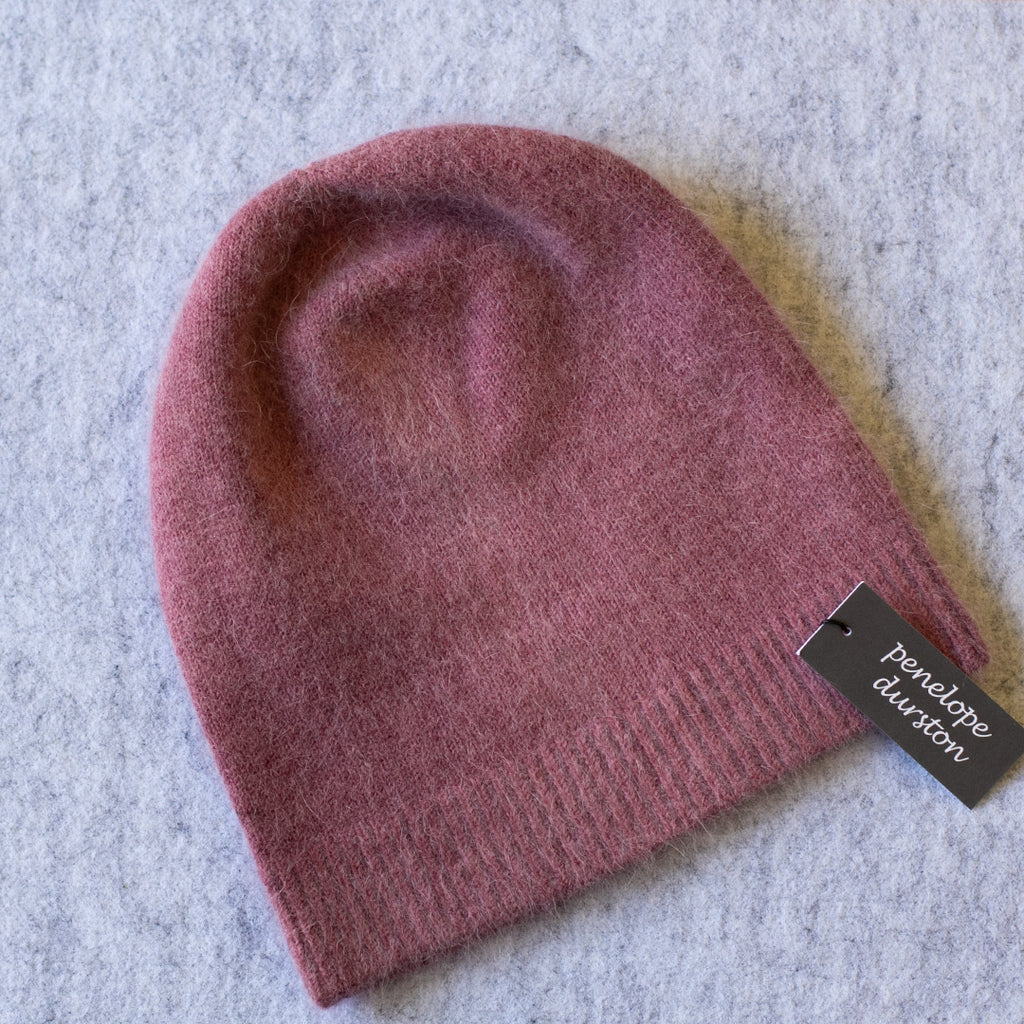 Dusty pink beanie made from angora and lambswool