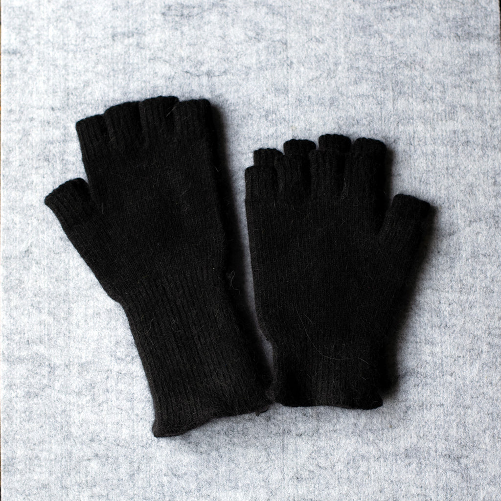 Black fingerless gloves made from angora and lambswool