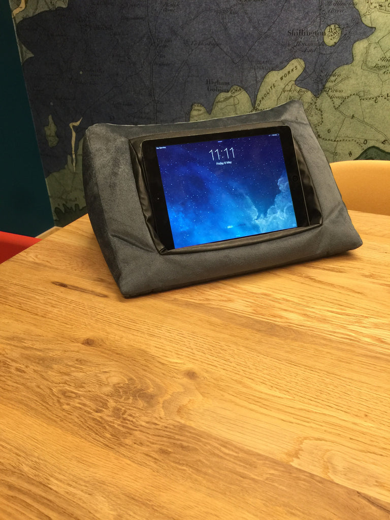 iCushion iPad Cushion Pillow Stand / Holder Velvet Blue Grey