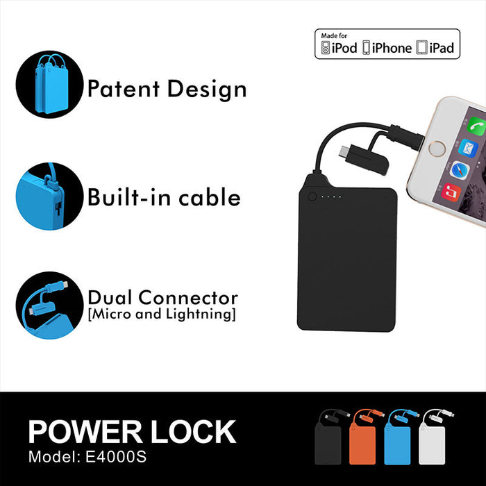 Power Bank with built in Lightning cable 4000 mah MFI