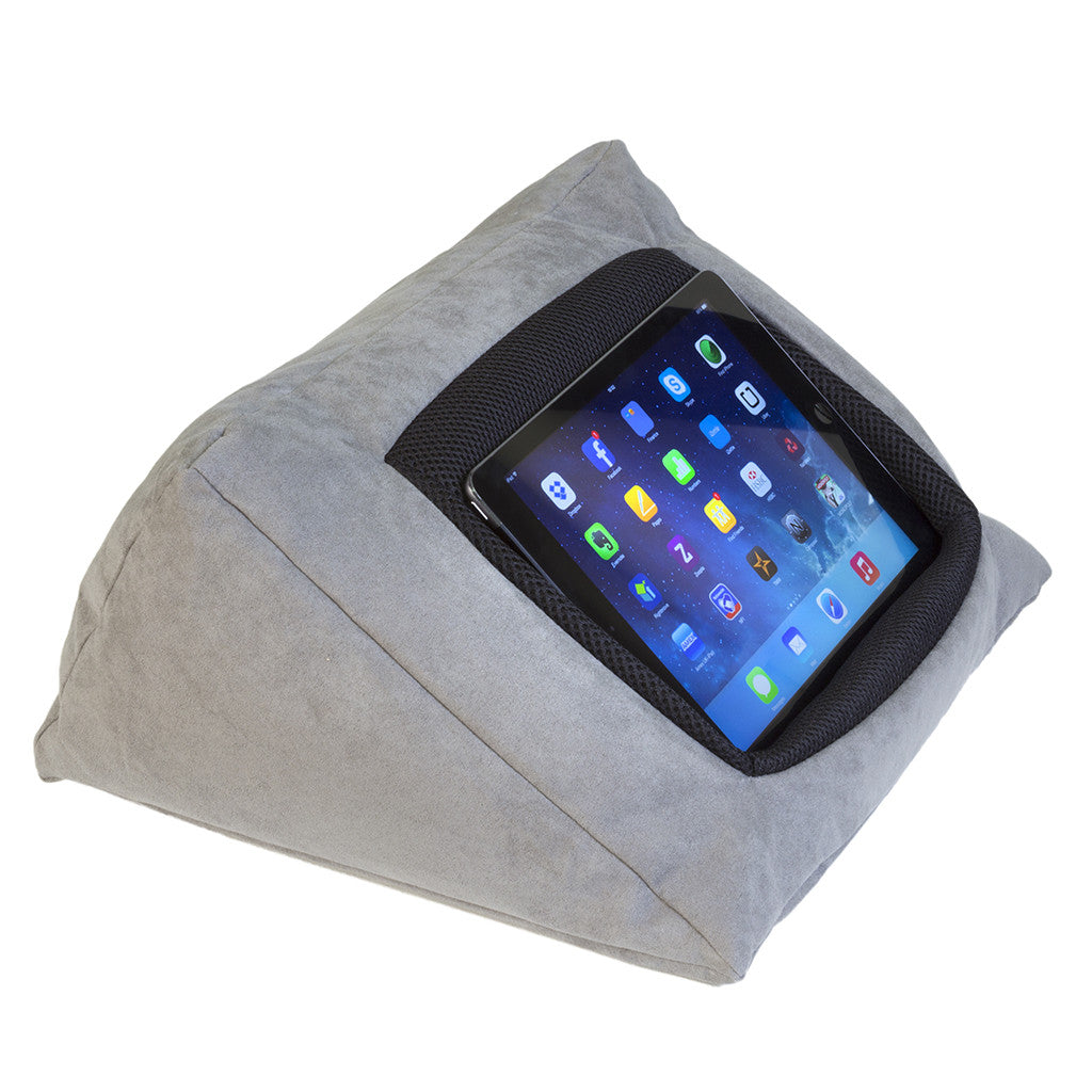 Picture of: Cushion Pillow Stand Holder For Your Ipad Or Other Tablet This Icushion Is Made From Luxurious Pongee Silk In Grey Be Comfy With Your Ipad In Bed Whilst Watching Films Surfing