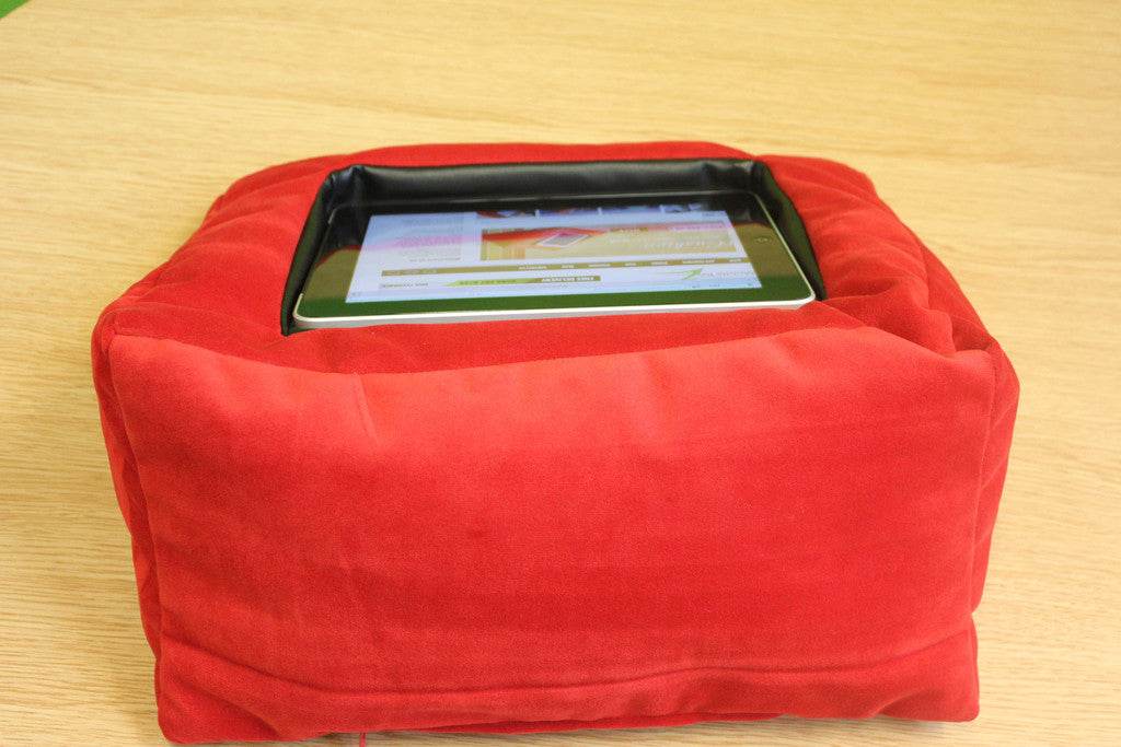 ipad cushion stand red velvet