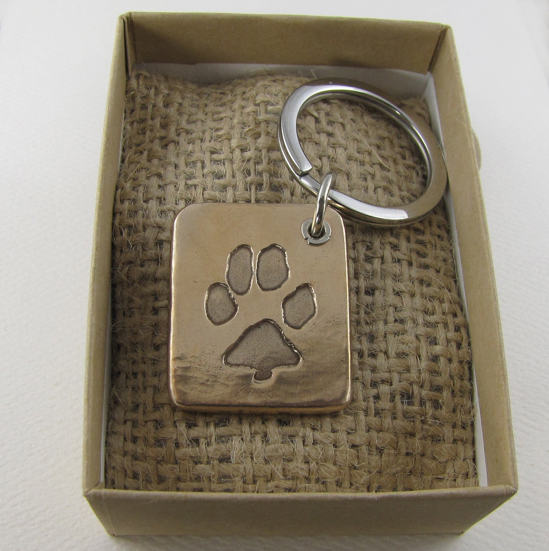 Sterling Silver Pawprint Keychain